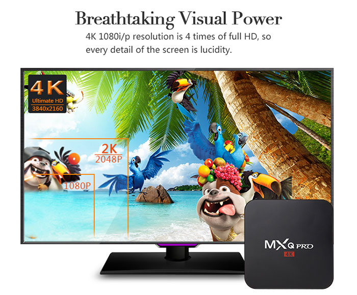 mxq pro 4k android tv box gia re, cau hinh manh: ho tro do phan giai 4k
